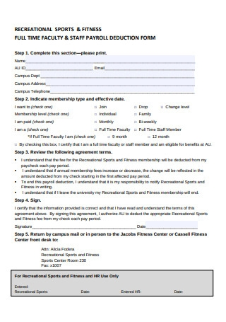 Staff Payroll Deduction Form