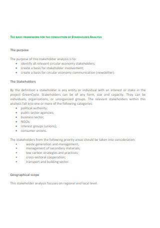 Stakeholder Analysis Framework