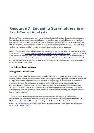 Stakeholders in Root Cause Analysis
