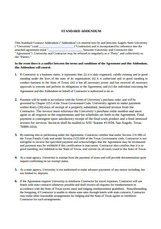 Standard Addendum to Contract