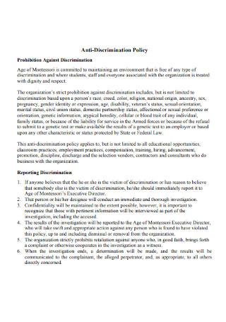 Standard Anti discrimination Policy