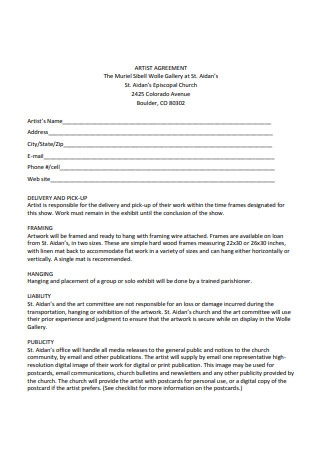 Standard Artist Agreement Sample