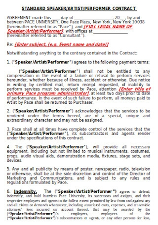 Standard Artists Contract