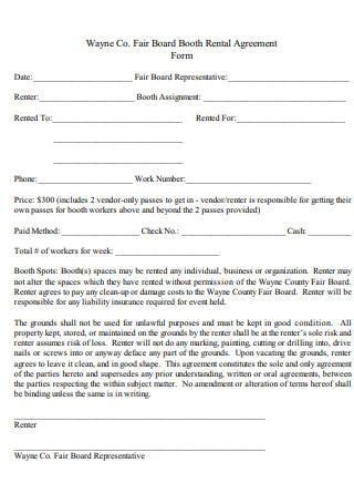 Standard Booth Salon Rental Agreement