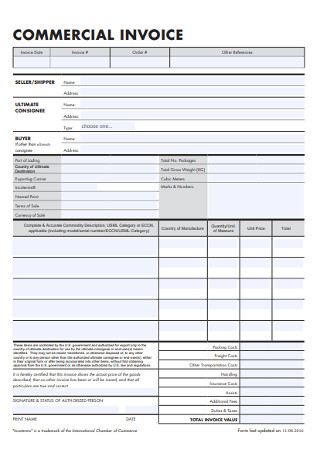 Standard Commercial Invoice