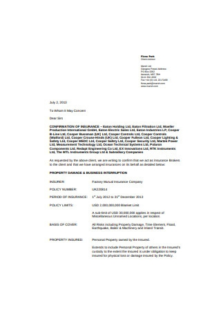 Standard Confirmation of Insurance letter