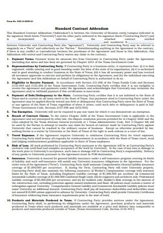 Standard Contract Addendum Sample