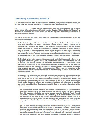 Standard Data Sharing Agreement Example