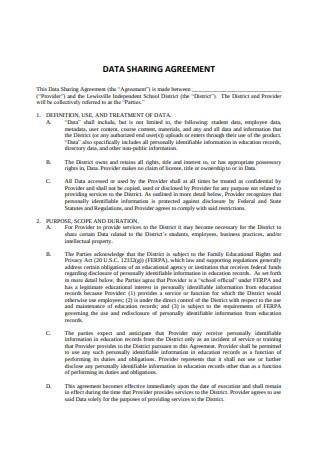 Standard Data Sharing Agreement