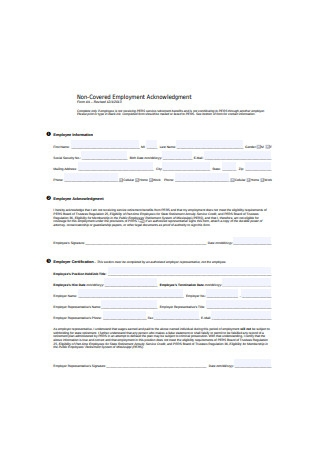 Standard Employment Information Form Sample