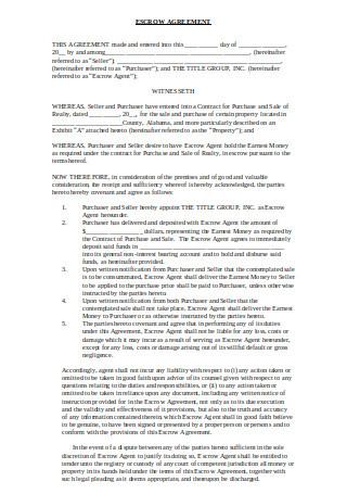 Standard Escrow Agreement