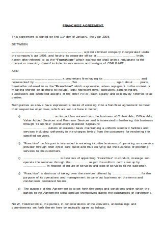 Standard Franchise Agreement Sample