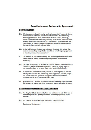 Standard Partnership Agreement Format