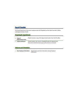 Standard Payroll Checklist