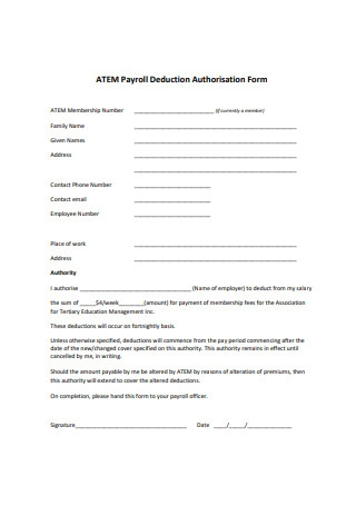 Standard Payroll Deduction Authorisation Form