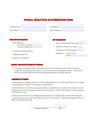 Standard Payroll Deduction Authorization Form Format