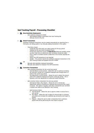Standard Payroll Processing Checklist