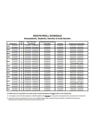 Standard Payroll Schedule