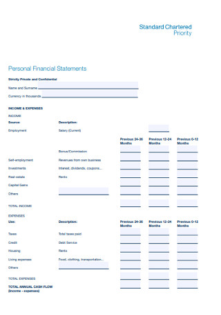 Standard Personal Financial Statements