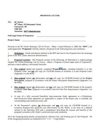 Standard Proposal Letter