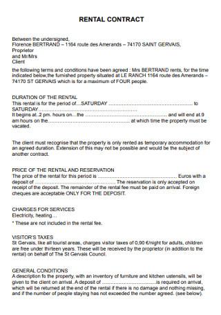 Standard Rental Contract