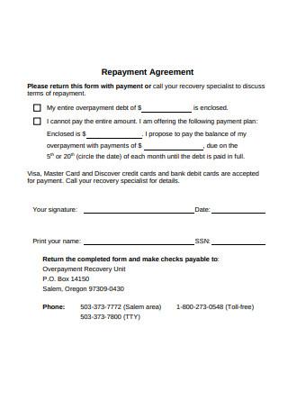 Standard Repayment Agreement