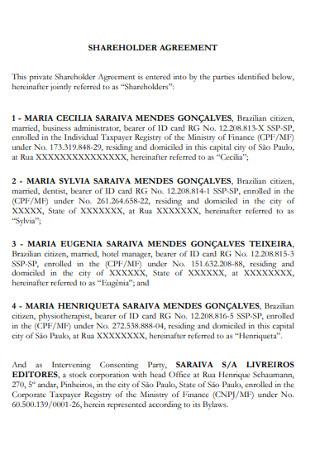 Standard Sharehloders Agreement