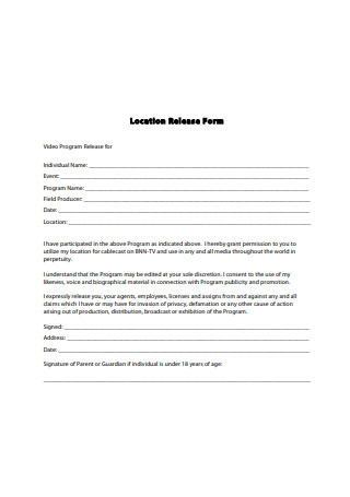 Standard Video Location Release Form