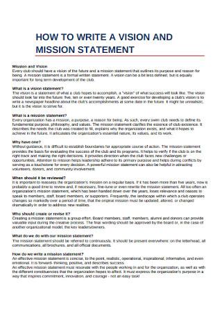 Standard Vision Statement