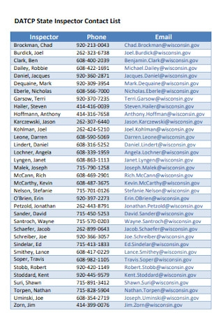 State Inspectors Contact List