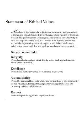 Statement of Ethical Values