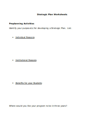 Strategic Plan Worksheets