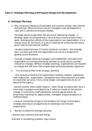 Strategic Planning and Designing Programs