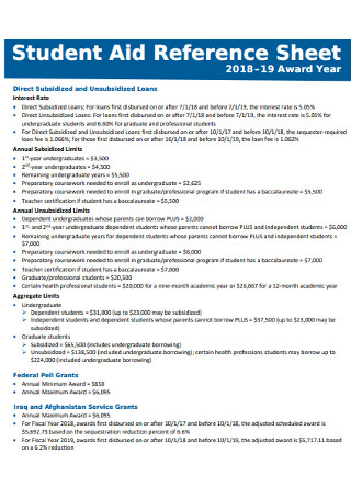 Student Aid Reference Sheet