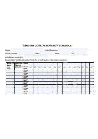 Student Clinic Rotation Schedule Format