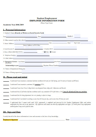 Student Employment Information Form