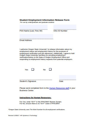 Student Employment Information Release Form