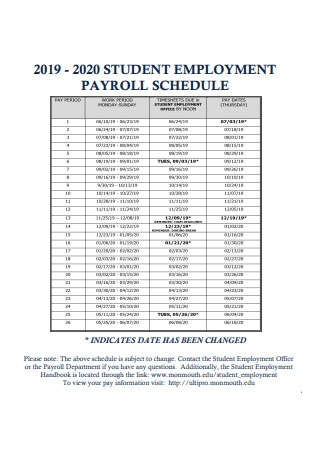 Student Employment Payroll Schedule Format