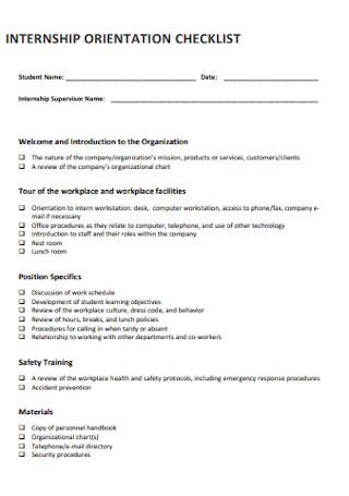 Student Internship Orientation Checklist