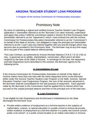 Student Laon Program Promissory Note