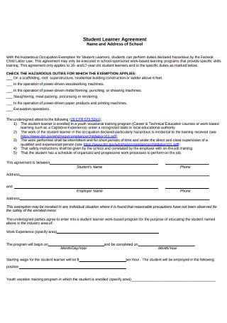 Student Learner Work Agreement