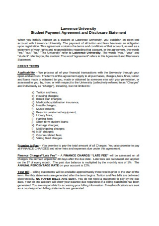 Student Payment Agreement and Disclosure Statement
