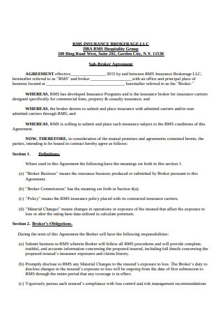 Sub Broker Agreement