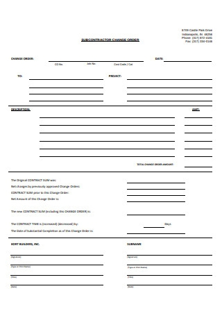 SubContractor Change Order Form