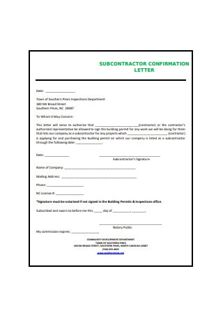 SubContractor Confirmation Letter