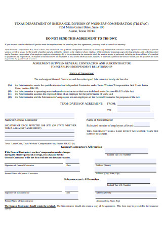 Subcontractor Insurance Agreement