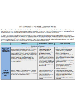 Subcontractor or Purchase Agreement Matrix