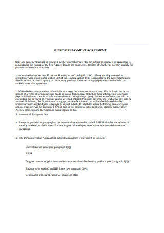 Subsidy Repayment Agreement