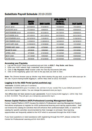 Substitute Payroll Schedule 2019 2020