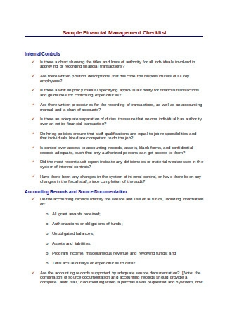 Suggested Financial Management Checklist
